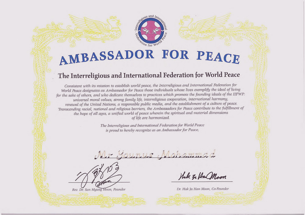 Younus AlGohar Ambassador for Peace